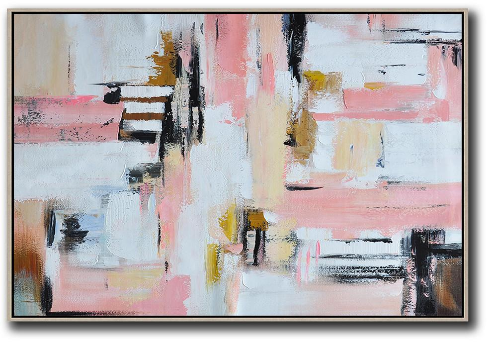 Original Painting Hand Made Large Abstract Art,Oversized Horizontal Contemporary Art,Huge Canvas Art On Canvas,White,Pink,Light Yellow,Black,Brown.etc