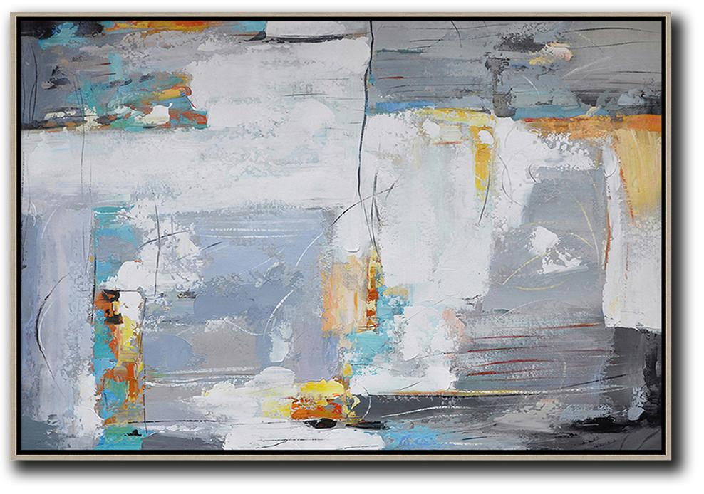 Handmade Painting Large Abstract Art,Oversized Horizontal Contemporary Art,Hand Painted Acrylic Painting,White,Grey,Yellow.etc