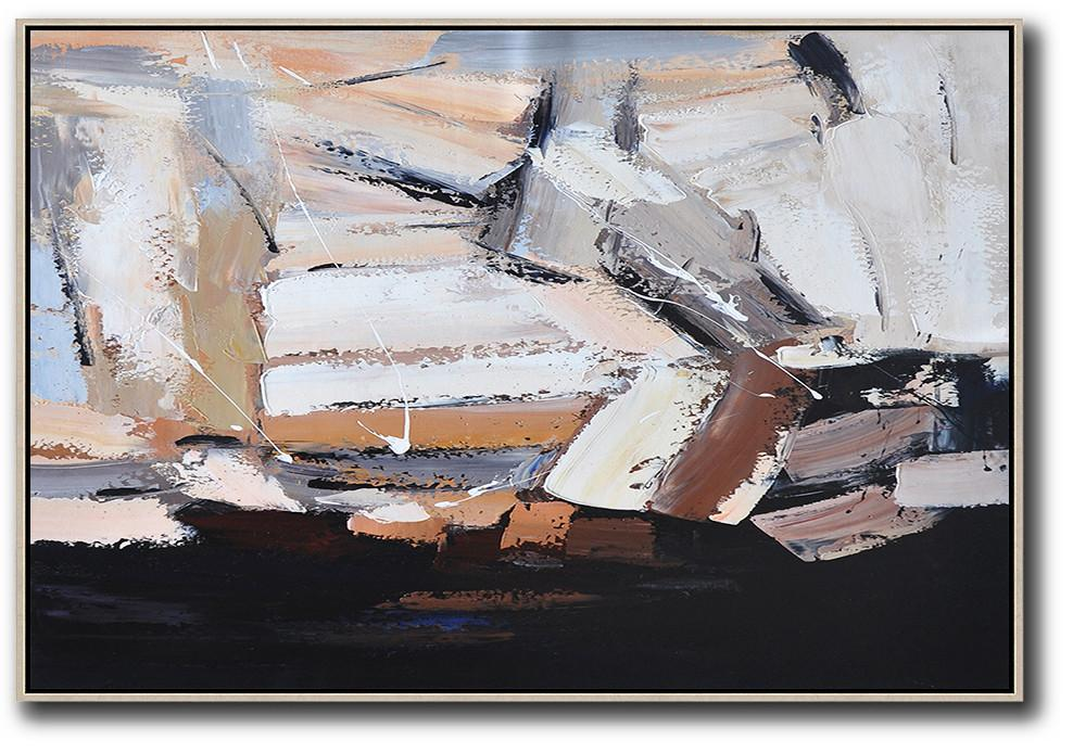 Large Abstract Painting On Canvas,Oversized Horizontal Contemporary Art,Extra Large Paintings,White,Grey,Brown,Black.etc