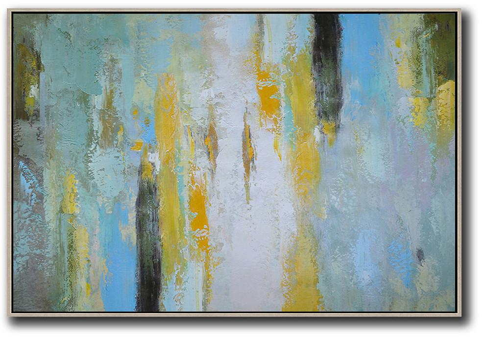 Extra Large Canvas Art,Oversized Horizontal Contemporary Art,Huge Abstract Canvas Art,White,Yellow,Purple Grey,Black,Lake Blue.etc