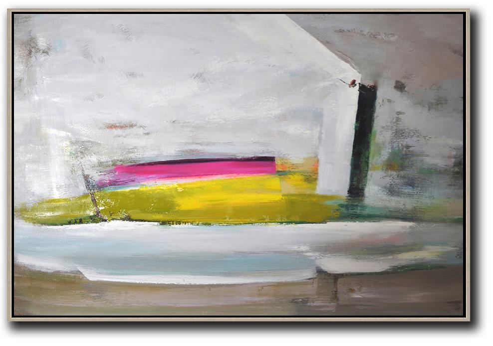 Living Room Canvas Art,Horizontal Palette Knife Contemporary Art,Canvas Wall Paintings,Grey.Yellow,Pink.etc