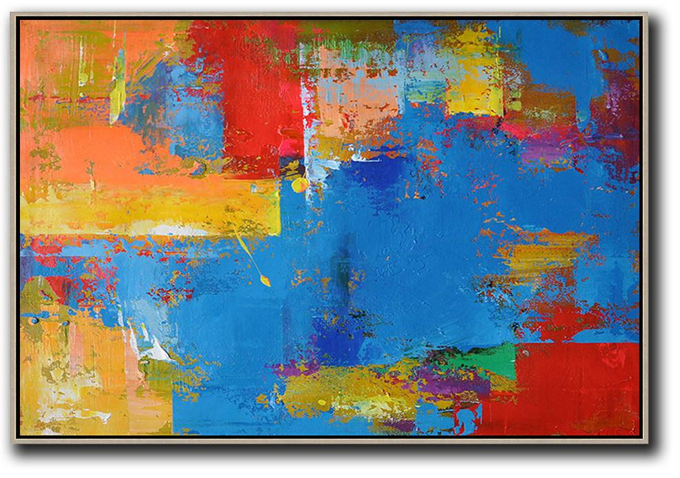 Size Extra Large Abstract Art,Horizontal Palette Knife Contemporary Art,Modern Abstract Wall Art,Blue,Red,Yellow,Orange.etc