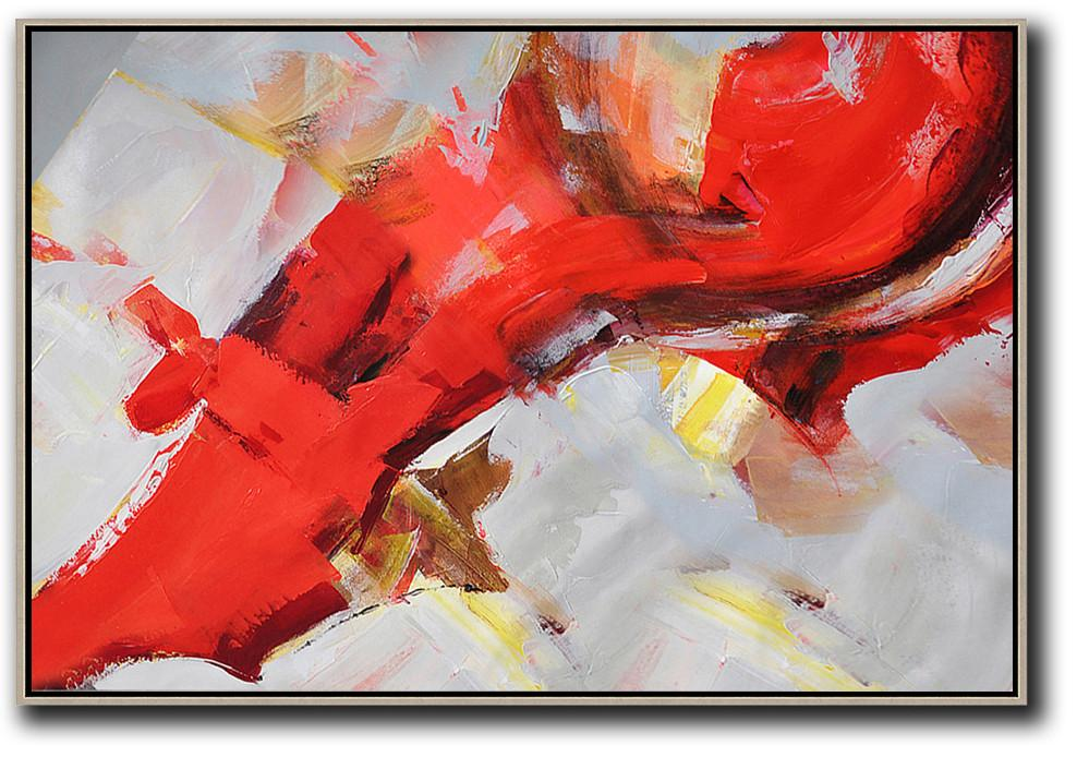 "Extra Large 72"" Acrylic Painting,Horizontal Palette Knife Contemporary Art,Modern Art,Red,Grey,Yellow.etc"
