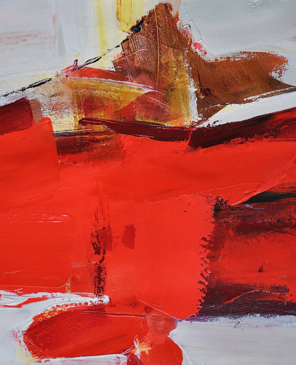 Canvas Wall Paintings,Horizontal Palette Knife Contemporary Art,Acrylic Painting Large Wall Art,Red,Grey,Yellow.etc