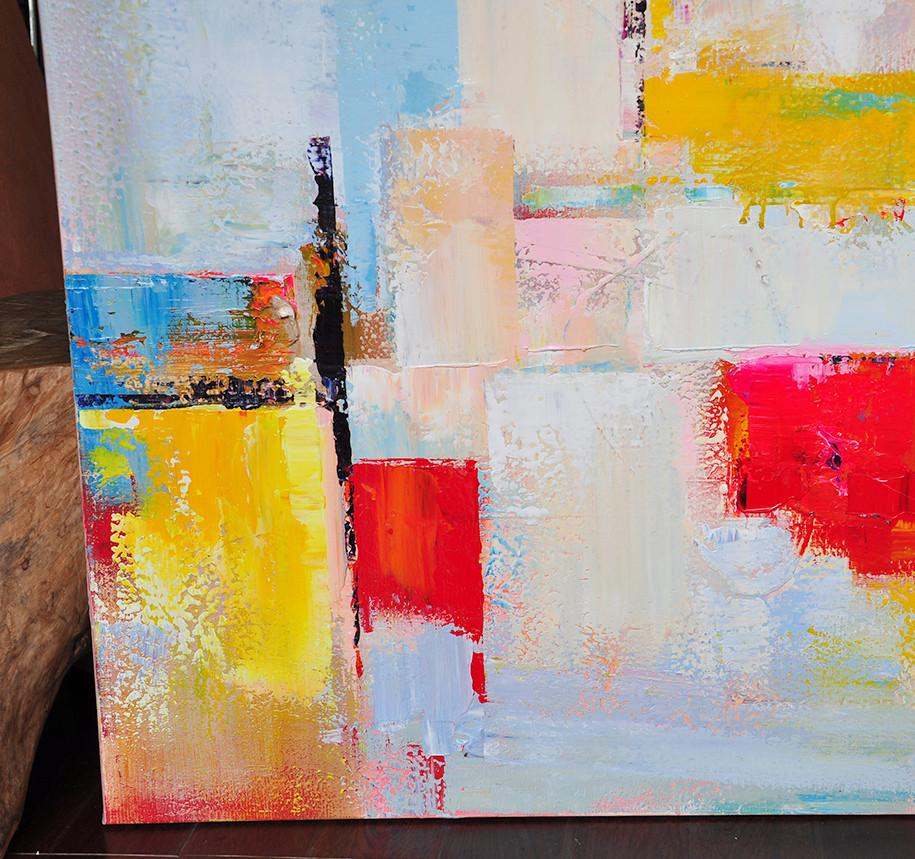 Abstract Painting On Canvas,Horizontal Palette Knife Contemporary Art,Textured Painting Canvas Art,Yellow,White,Red.etc