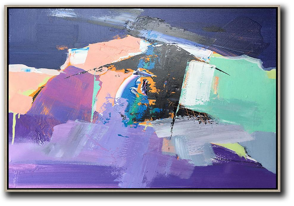 Textured Painting Canvas Art,Horizontal Palette Knife Contemporary Art,Modern Wall Decor,Pink,Purple,Black.etc