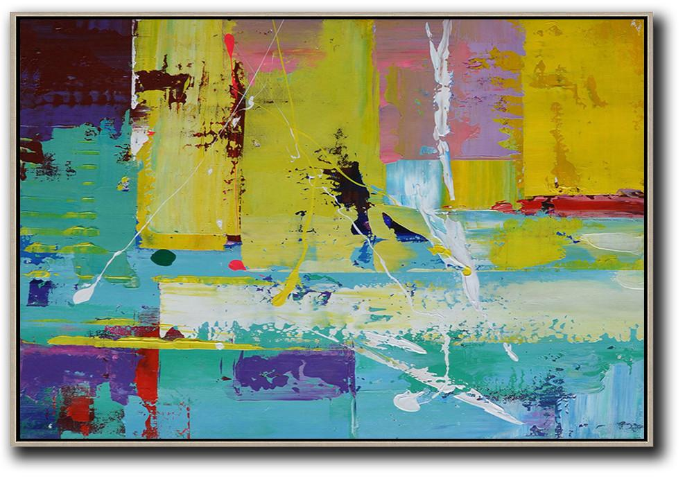 Unique Canvas Art,Horizontal Palette Knife Contemporary Art,Giant Canvas Wall Art,Yellow,Blue,Purple,Pink.etc