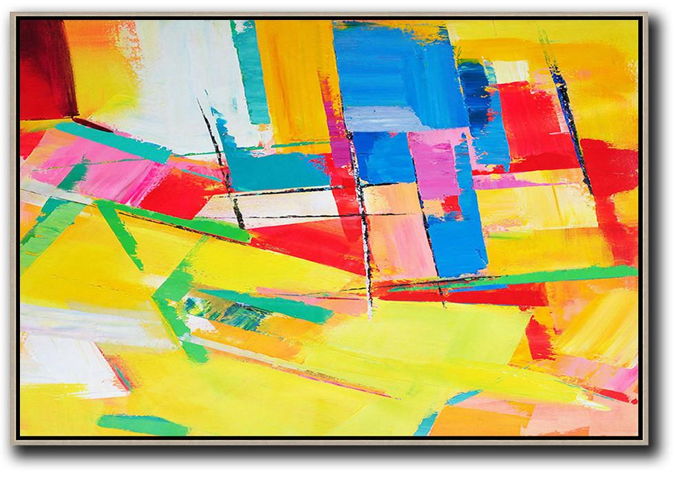 Handmade Acrylic Painting,Horizontal Palette Knife Contemporary Art,Acrylic Minimailist Painting,Yellow,Red,Blue.etc