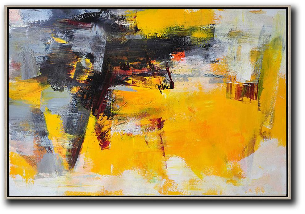 Handmade Large Painting,Horizontal Palette Knife Contemporary Art,Contemporary Art Acrylic Painting,Black,Grey,Yellow.etc