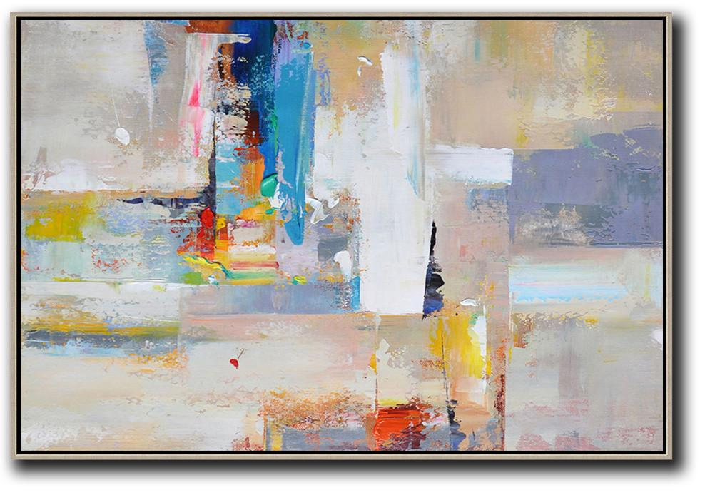 Large Modern Abstract Painting,Horizontal Palette Knife Contemporary Art,Big Painting,White,Grey,Yellow,Blue,Red.etc