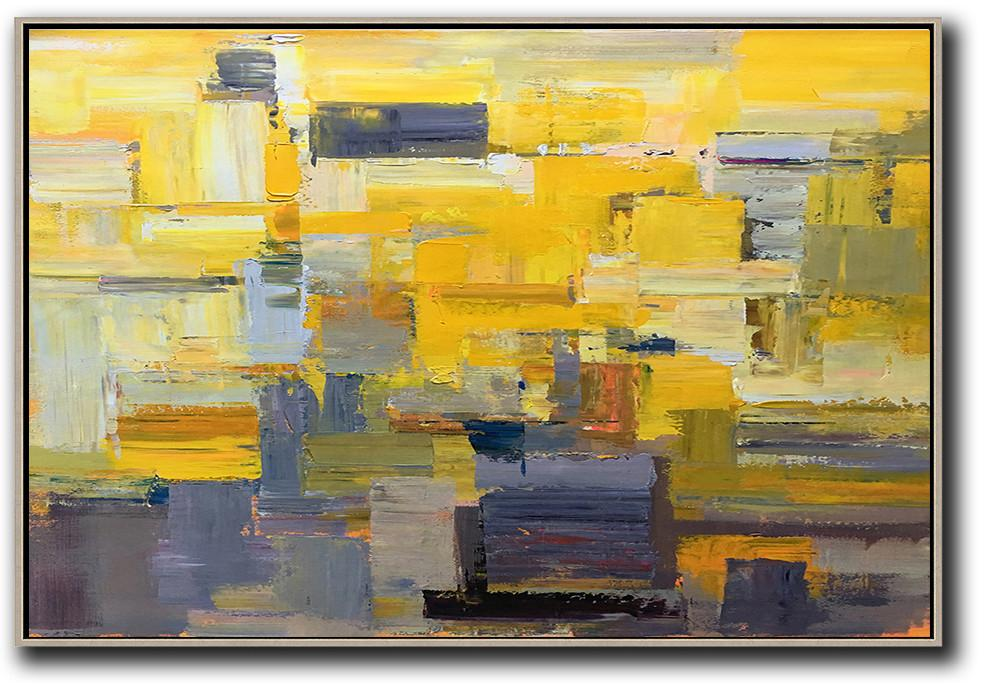 Wall Art Painting,Horizontal Palette Knife Contemporary Art,Colorful Wall Art,Yellow,Grey,White.etc