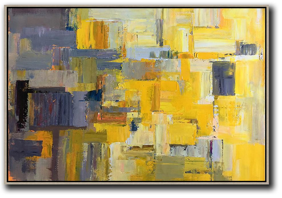 Colorful Wall Art,Horizontal Palette Knife Contemporary Art,Wall Art Ideas For Living Room,Yellow,Grey,White.etc
