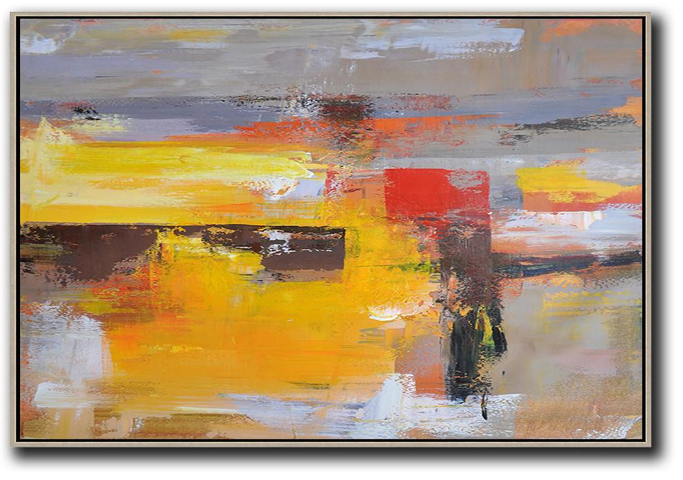 Hand Painted Extra Large Abstract Painting,Horizontal Palette Knife Contemporary Art,Artwork For Sale,Grey,Yellow,Red.etc