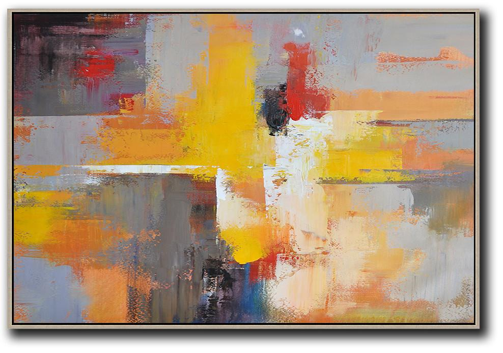 Abstract Painting Extra Large Canvas Art,Horizontal Palette Knife Contemporary Art,Custom Canvas Wall Art,Yellow,Grey,Red,Black.etc