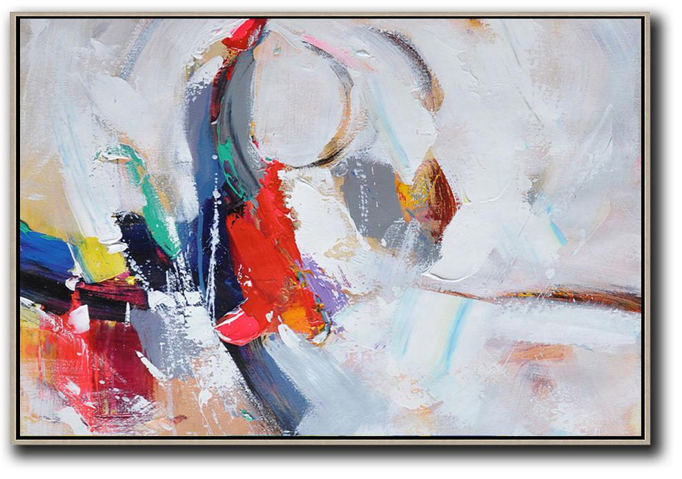 Large Abstract Art Handmade Oil Painting,Horizontal Palette Knife Contemporary Art,Pop Art Canvas,White,Grey,Dark Blue,Red.etc