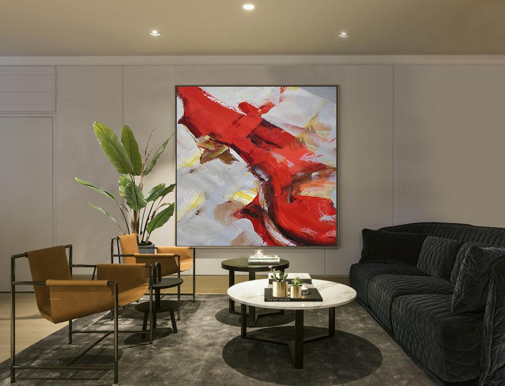 Large Abstract Painting On Canvas,Oversized Palette Knife Painting Contemporary Art On Canvas,Abstract Painting On Canvas,Grey,Red,Brown,Yellow.etc