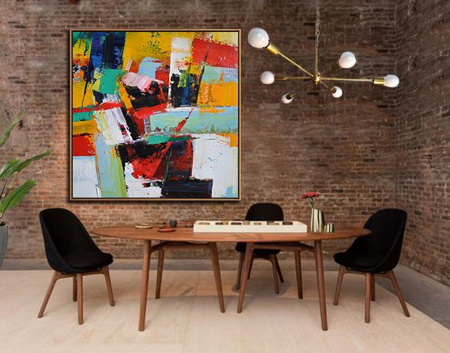 Extra Large Painting,Oversized Palette Knife Painting Contemporary Art On Canvas,Personalized Canvas Art,Yellow,Red,Blue,Black,Light Green.etc