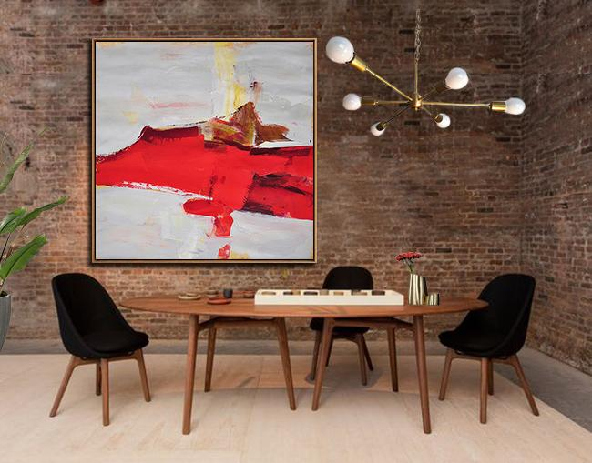 Abstract Painting Extra Large Canvas Art,Oversized Palette Knife Painting Contemporary Art On Canvas,Canvas Artwork For Living Room,Grey,Red,Yellow,Brown.etc