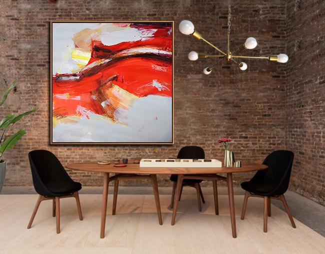 Large Abstract Art,Oversized Palette Knife Painting Contemporary Art On Canvas,Large Wall Art Canvas,Red,Yellow,Grey.etc