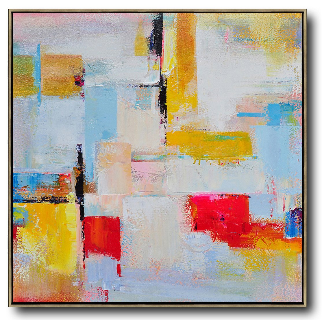Large Abstract Painting Canvas Art,Oversized Palette Knife Painting Contemporary Art On Canvas,Canvas Painting Wall Decor,Grey,Yellow,Red,Sky Blue.etc
