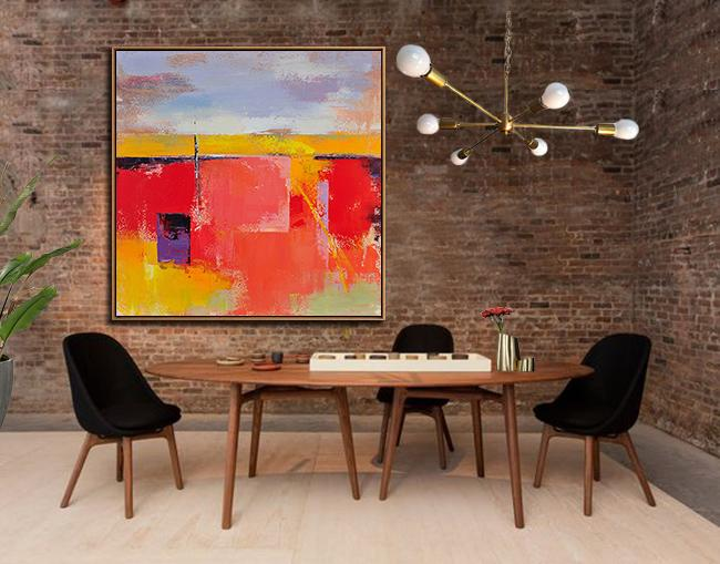 Large Abstract Art Handmade Oil Painting,Oversized Palette Knife Painting Contemporary Art On Canvas,Large Contemporary Painting,Red,Blue,Yellow,Purple.etc