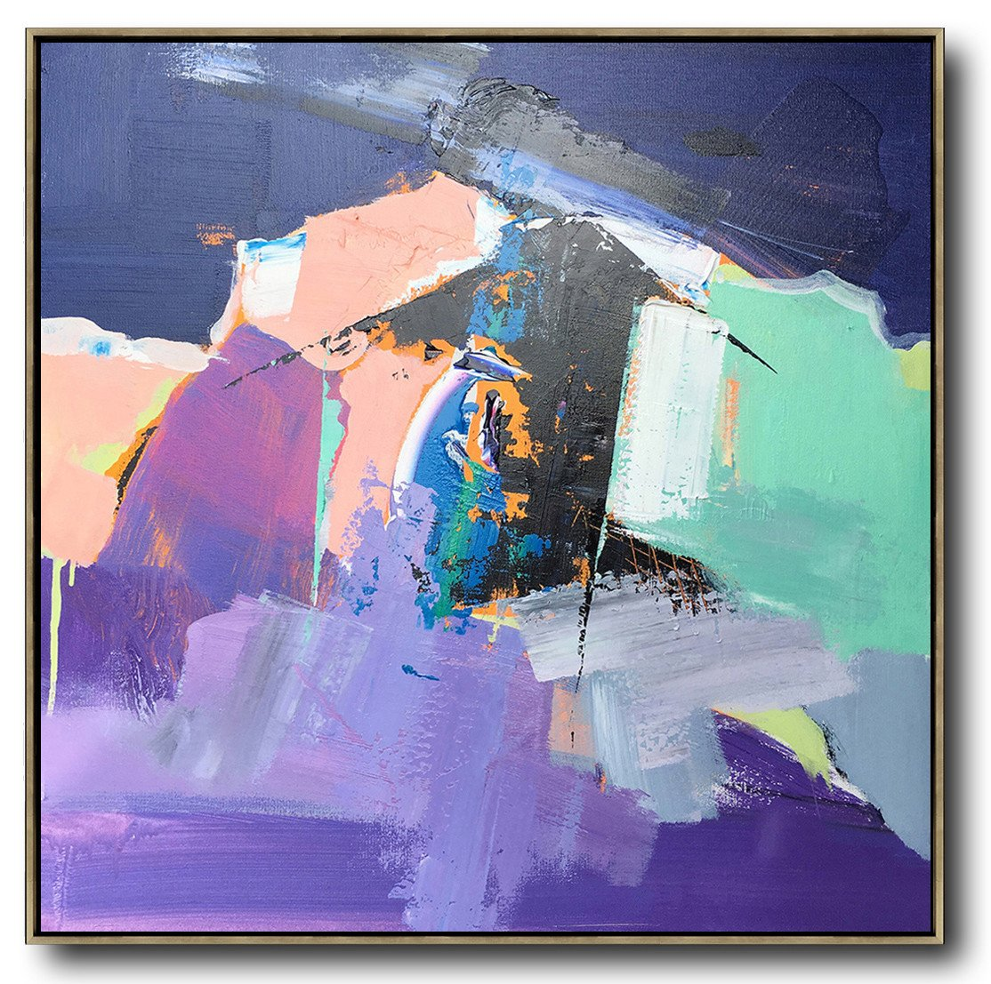 Oversized Canvas Art On Canvas,Oversized Palette Knife Painting Contemporary Art On Canvas,Oversized Canvas Art,Dark Blue,Nude,Purple,Light Green.etc