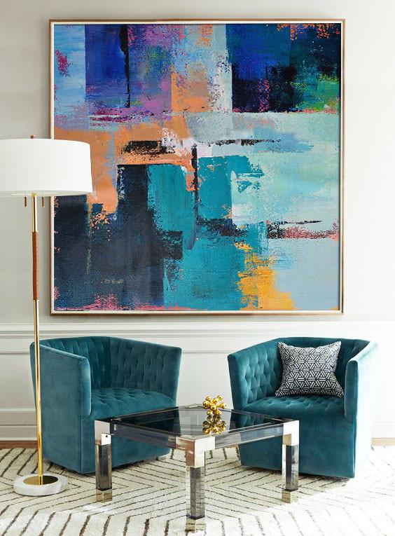 Large Abstract Painting,Oversized Palette Knife Painting Contemporary Art On Canvas,Oversized Art,Blue,Purple,Green,Yellow,Orange.etc