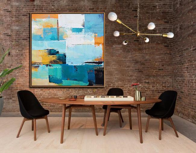 Hand Painted Extra Large Abstract Painting,Oversized Palette Knife Painting Contemporary Art On Canvas,Large Wall Canvas Paintings,Navy Blue,Sky Blue,White,Yellow,Black.etc