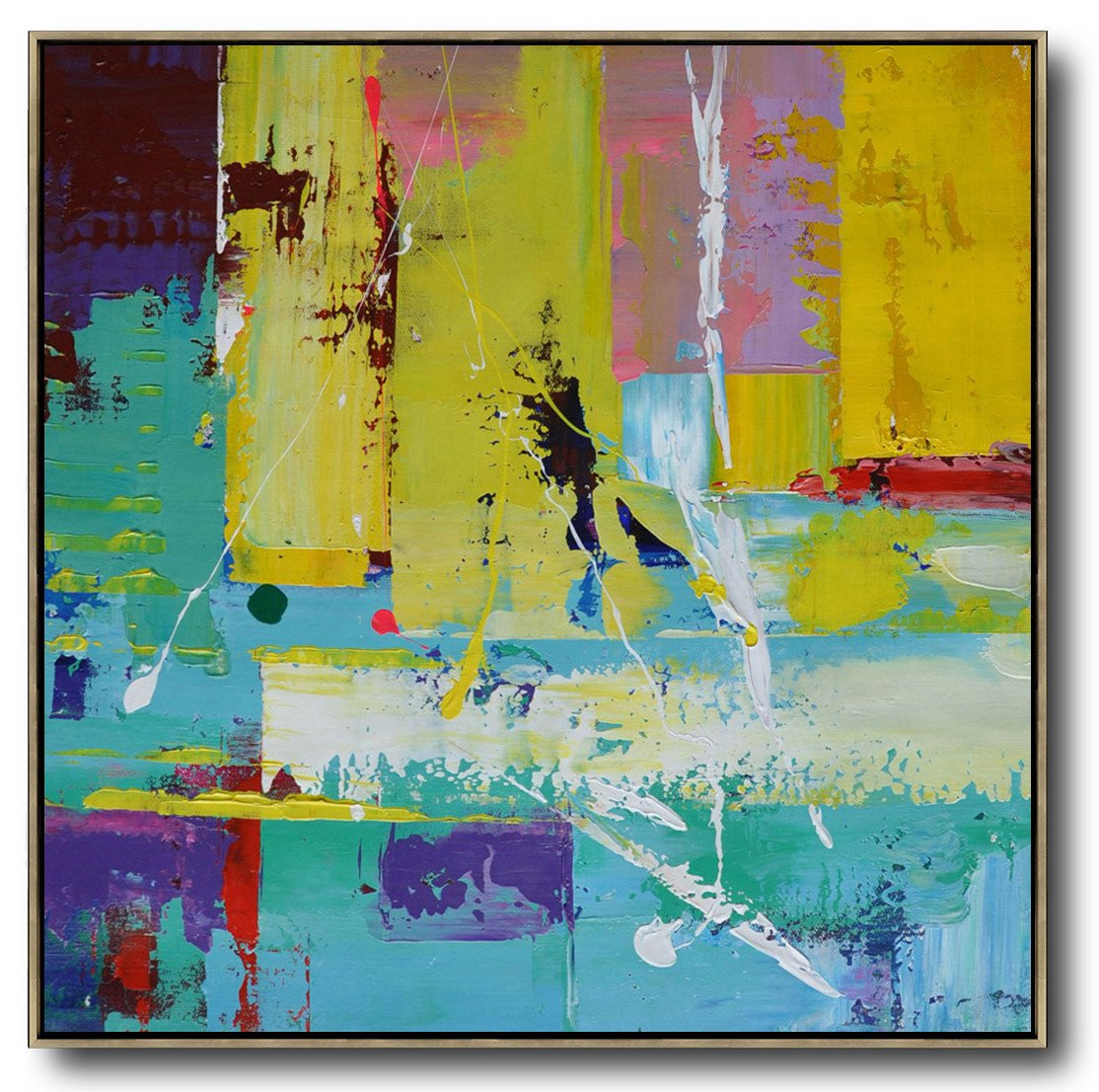 Extra Large Canvas Art,Oversized Palette Knife Painting Contemporary Art On Canvas,Original Art,Lake Blue,Purple,Yellow,Red.etc