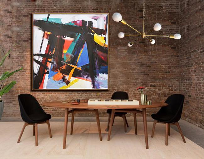 Large Abstract Art Handmade Painting,Oversized Palette Knife Painting Contemporary Art On Canvas,Living Room Wall Art,Black,Blue,Red,White,Yellow.etc