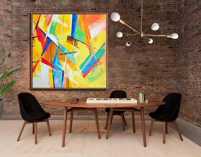 Abstract Painting Extra Large Canvas Art,Oversized Palette Knife Painting Contemporary Art On Canvas,Oversized Wall Decor,Yellow,Light Green,Red,Blue,Pink.etc