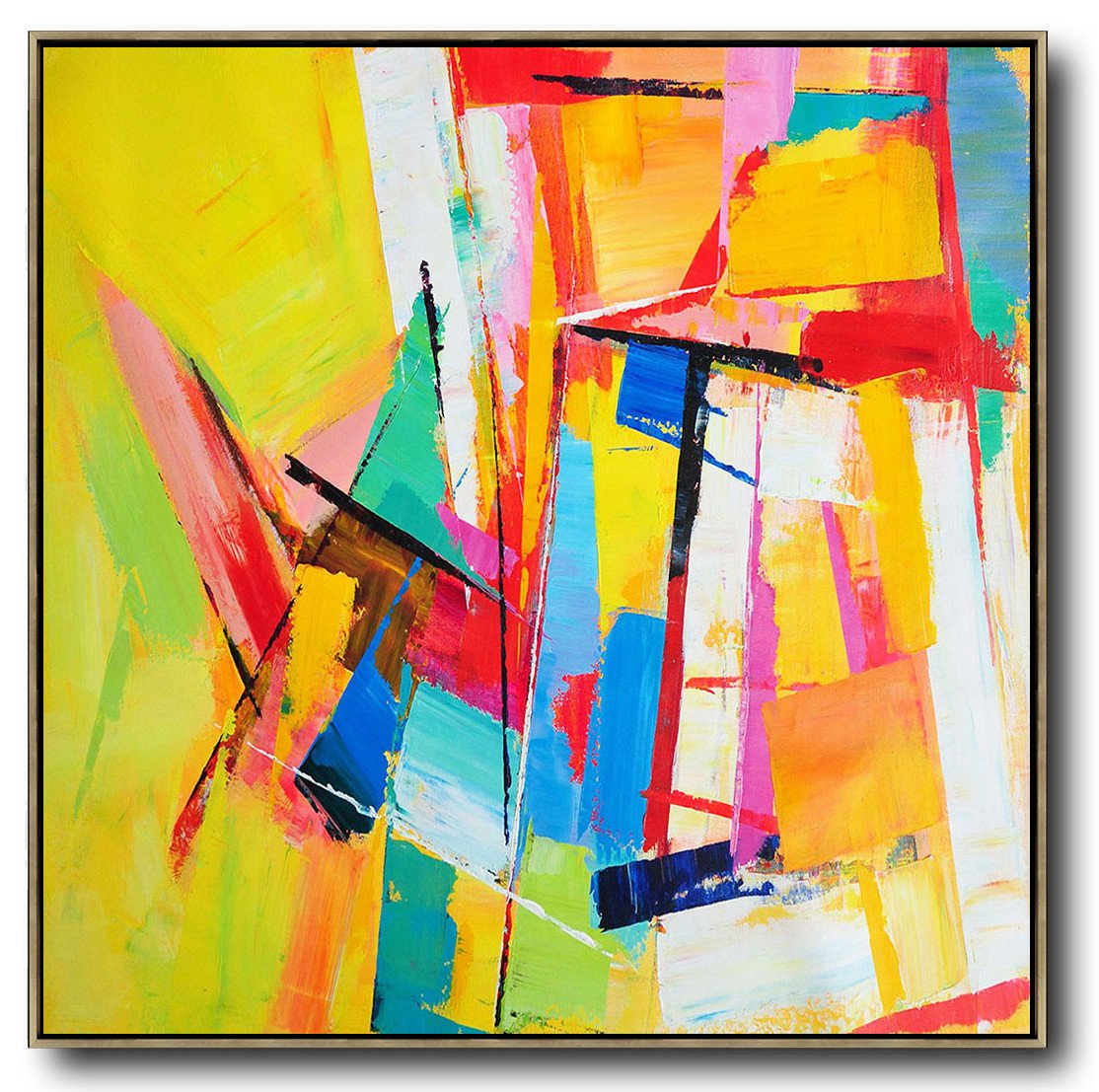 Handmade Painting Large Abstract Art,Oversized Palette Knife Painting Contemporary Art On Canvas,Huge Abstract Canvas Art,Yellow,Blue,Red,Pink,Light Green.etc