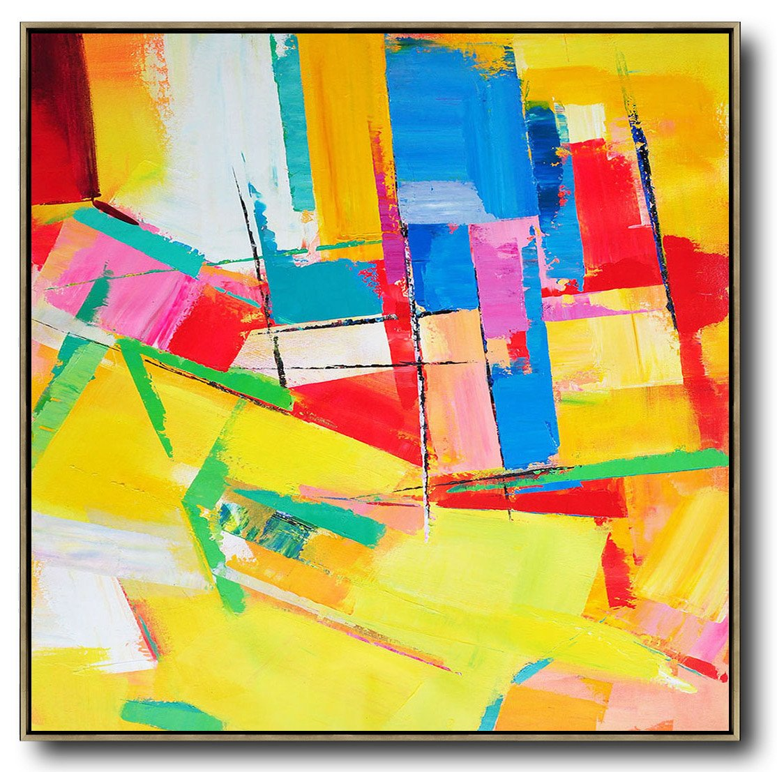 Extra Large Canvas Art,Oversized Palette Knife Painting Contemporary Art On Canvas,Huge Wall Decor,Yellow,Red,Blue,Pink,Light Green.etc