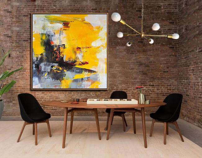 Handmade Large Contemporary Art,Oversized Palette Knife Painting Contemporary Art On Canvas,Large Living Room Wall Decor,Black,Yellow,White,Red,Grey.etc