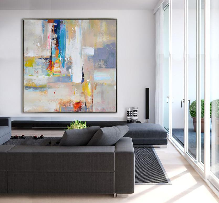 Abstract Painting Extra Large Canvas Art,Oversized Palette Knife Painting Contemporary Art On Canvas,Pop Art Canvas,Blue,Yellow,Nude,Pink,Red.etc