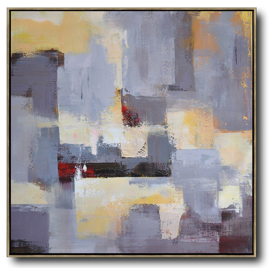 Extra Large Abstract Painting On Canvas,Oversized Palette Knife Painting Contemporary Art On Canvas,Decorating A Big Living Room,Grey,Blue,Red,Yellow.etc