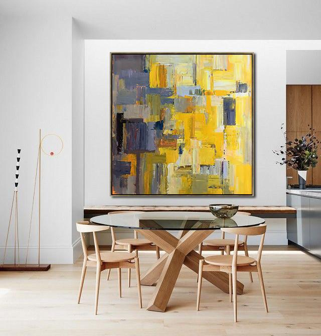 Extra Large Acrylic Painting On Canvas,Oversized Palette Knife Painting Contemporary Art On Canvas,Family Wall Decor,Yellow,Gray Violet,Brown,Taupe.etc