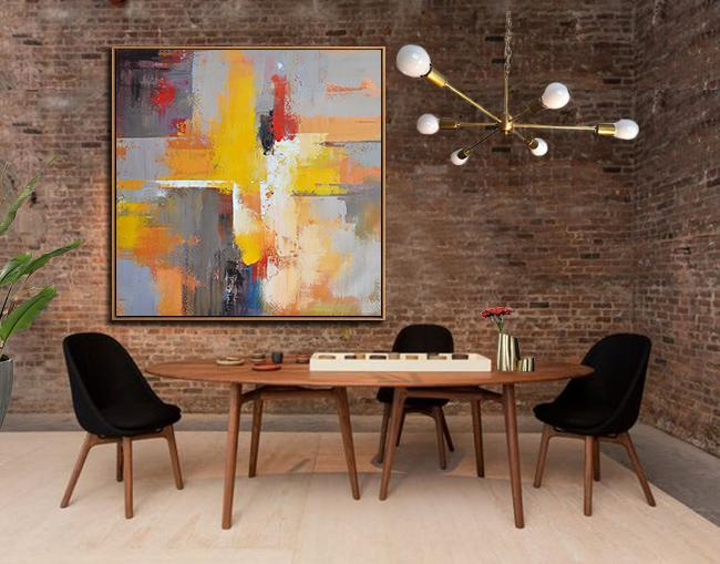 Large Abstract Art Handmade Oil Painting,Oversized Palette Knife Painting Contemporary Art On Canvas,Abstract Art Decor Large Canvas Painting,Yellow,Grey,Red,Taupe.etc
