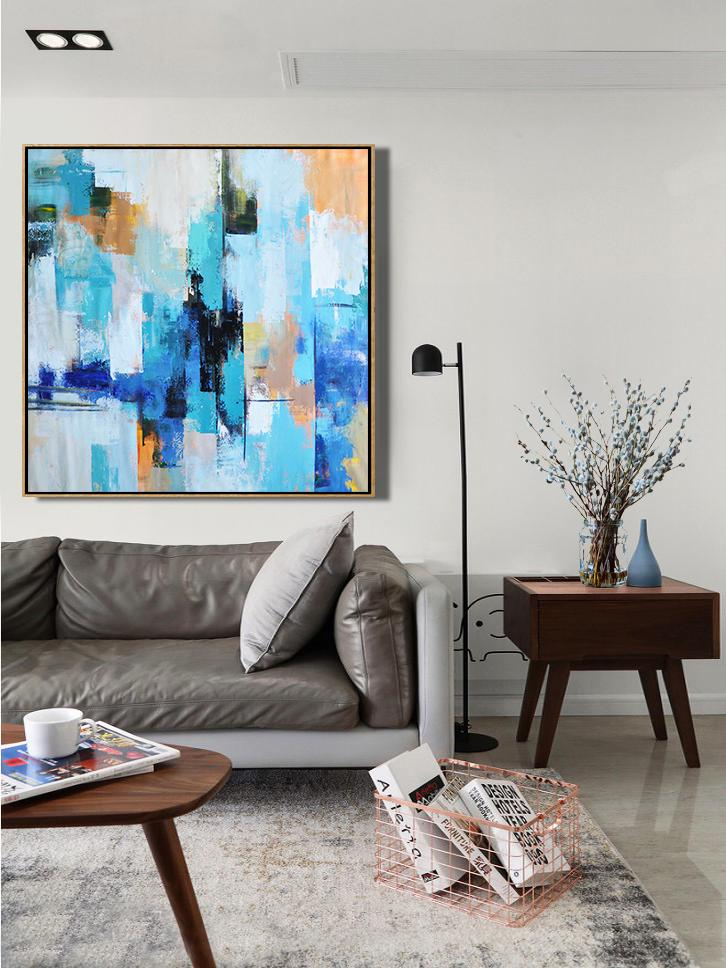 Extra Large Abstract Painting On Canvas,Palette Knife Contemporary Art Canvas Painting,Large Oil Canvas Art,Sky Blue,Yellow,White,Blue.etc
