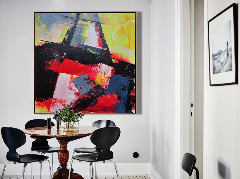 "Extra Large 72"" Acrylic Painting,Palette Knife Contemporary Art Canvas Painting,Large Canvas Wall Art For Sale,Black,Red,Yellow,Pink.etc"