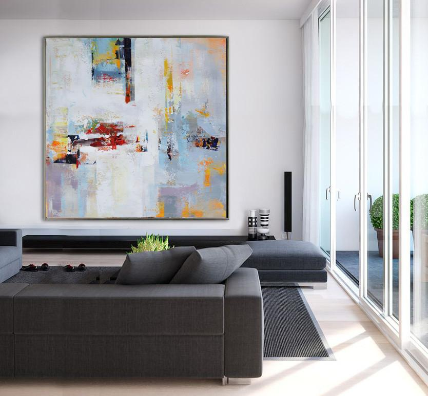 Large Abstract Art,Oversized Palette Knife Painting Contemporary Art On Canvas,Wall Art Ideas For Living Room,White,Purple,Yellow,Orange.etc