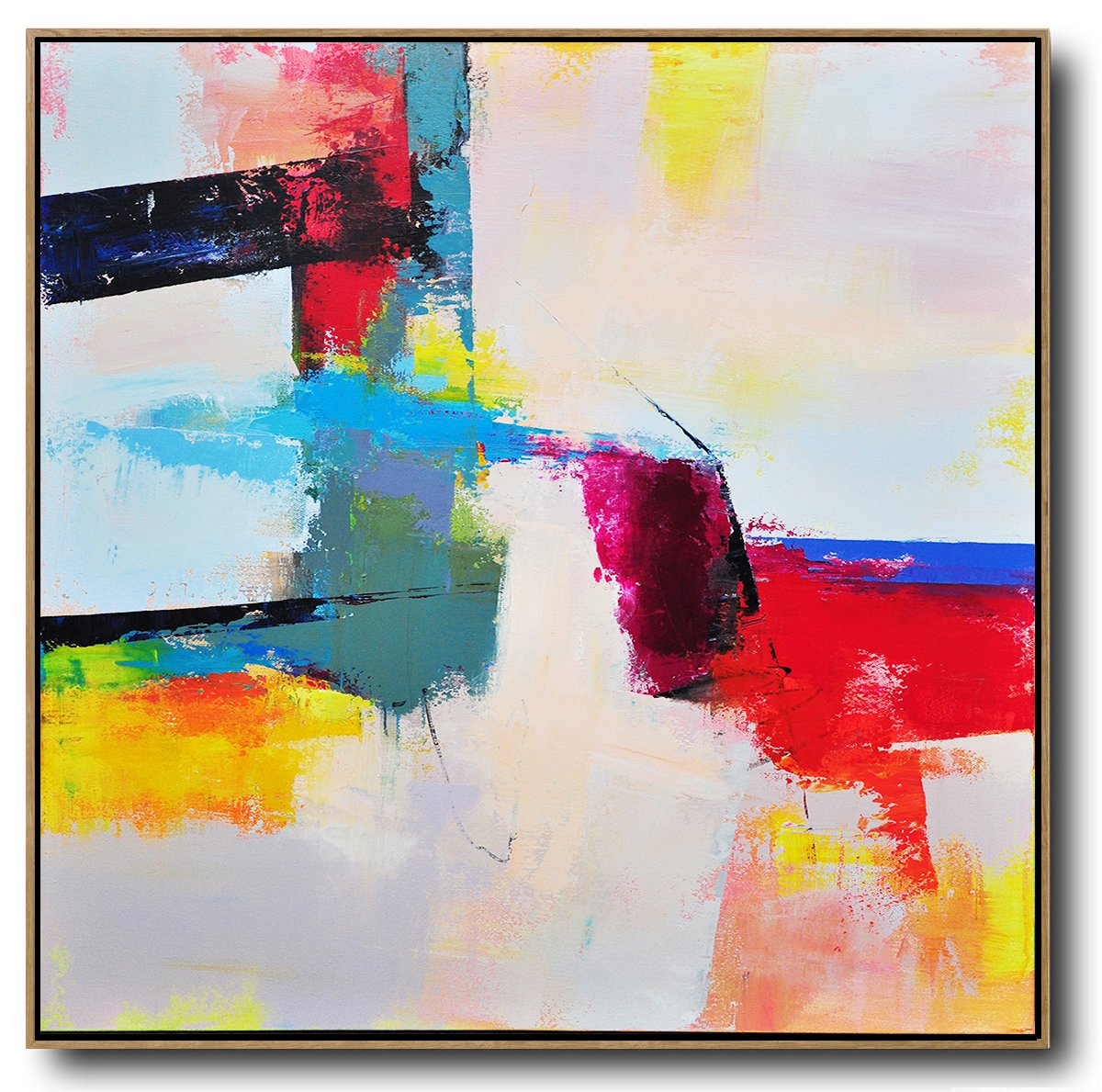 Hand Made Abstract Art,Palette Knife Contemporary Art Canvas Painting,Modern Paintings On Canvas,Pink,Red,Blue,Yellow.etc