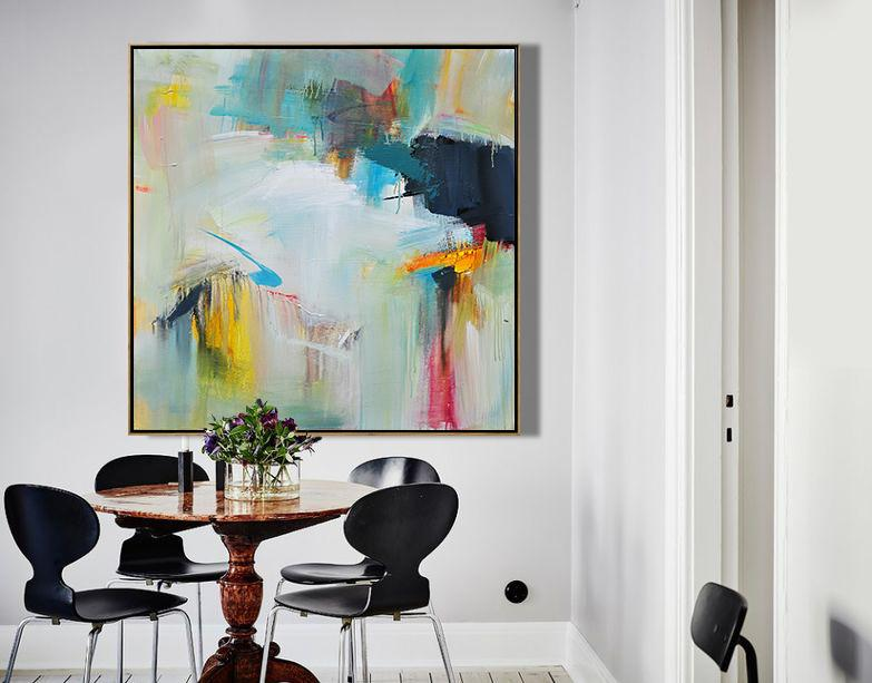 Extra Large Acrylic Painting On Canvas,Palette Knife Contemporary Art Canvas Painting,Contemporary Art Acrylic Painting,Dark Blue,White,Yellow,Red,Pink.etc