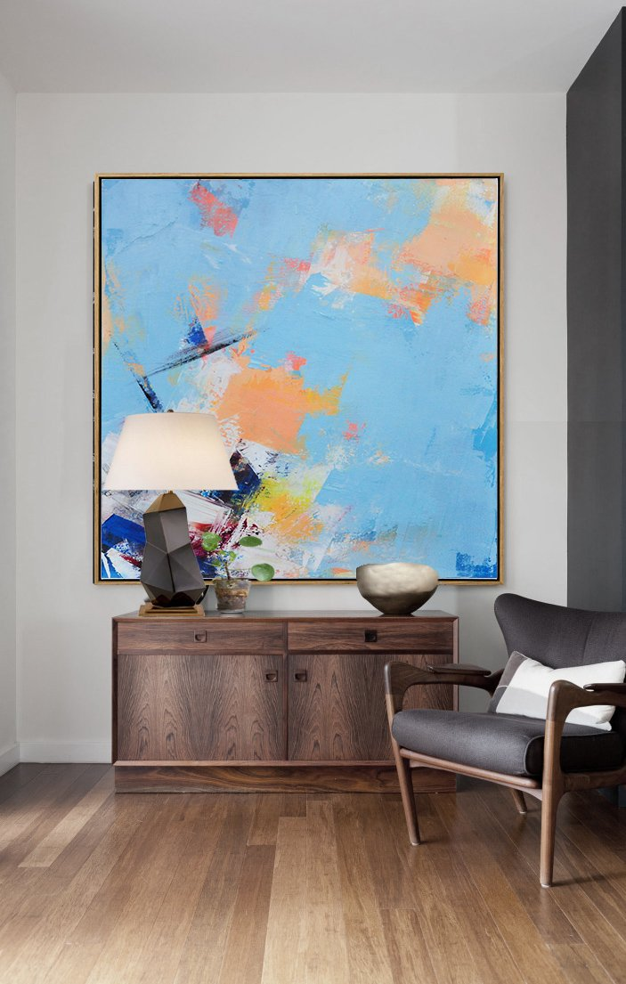 Original Artwork Extra Large Abstract Painting,Palette Knife Contemporary Art Canvas Painting,Large Wall Canvas,Sky Blue,Yellow,White,Dark Blue.etc