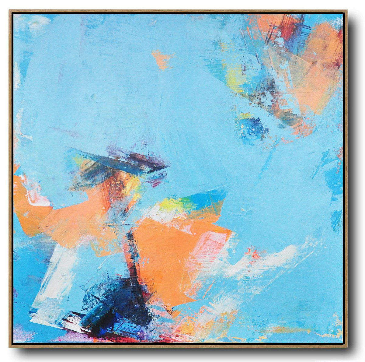 Extra Large Acrylic Painting On Canvas,Palette Knife Contemporary Art Canvas Painting,Huge Canvas Art On Canvas,Sky Blue,Orange,Yellow,White.etc