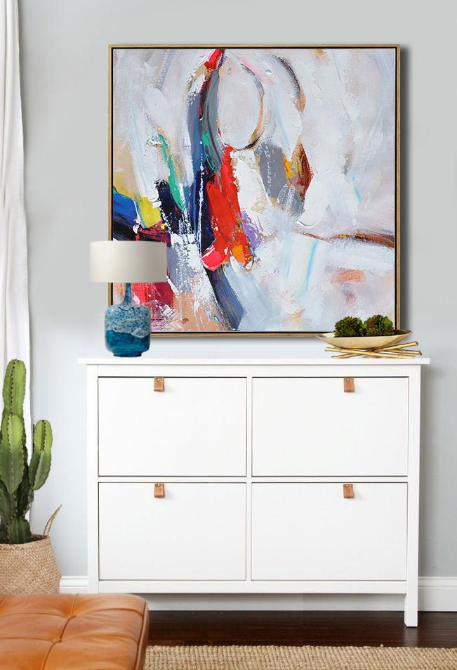 Large Abstract Painting Canvas Art,Oversized Palette Knife Painting Contemporary Art On Canvas,Canvas Paintings For Sale,Blue,Red,White,Yellow,Purple.etc