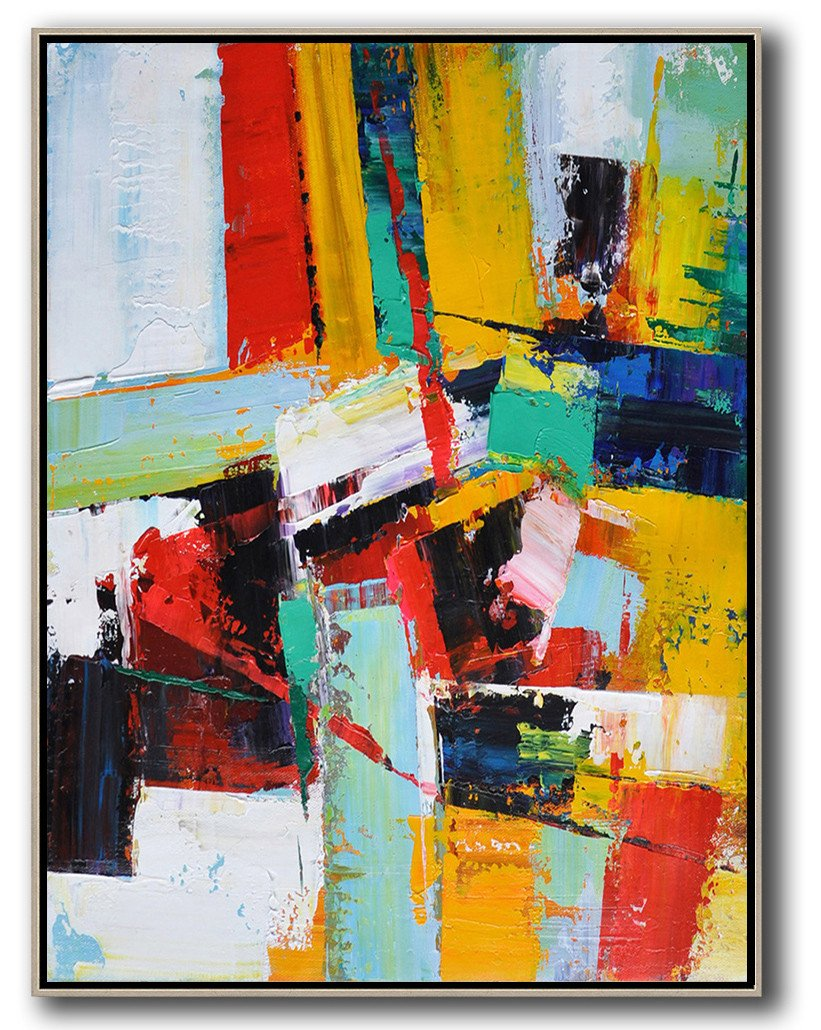 Large Abstract Painting On Canvas,Vertical Palette Knife Contemporary Art,Extra Large Canvas Art,Handmade Acrylic Painting,Red,Yellow,Dark Blue,White.etc