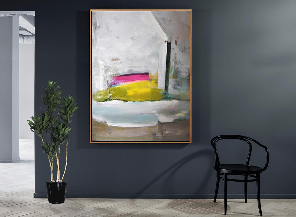 Abstract Painting Extra Large Canvas Art,Vertical Palette Knife Contemporary Art,Hand-Painted Contemporary Art,Grey,White,Yellow,Pink.etc