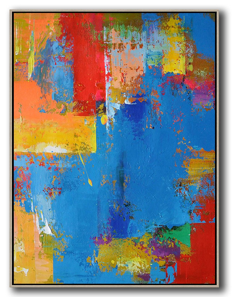Huge Abstract Painting On Canvas,Vertical Palette Knife Contemporary Art,Hand Paint Large Clean Modern Art,Blue,Red,Yellow.etc