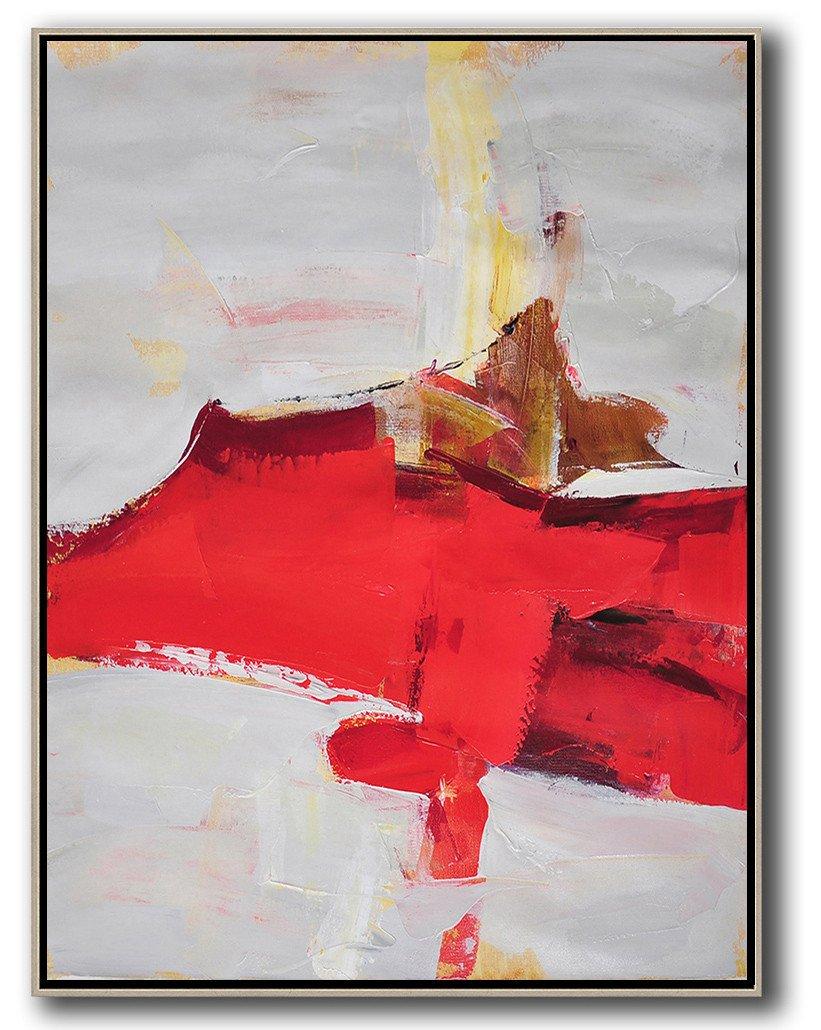 Handmade Large Contemporary Art,Vertical Palette Knife Contemporary Art,Modern Art Abstract Painting,Grey,Red,Brown.etc
